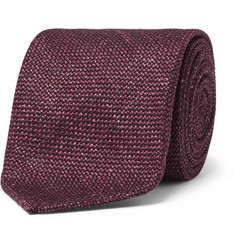 Drake's - 8cm Slub Wool, Silk and Linen-Blend Tie