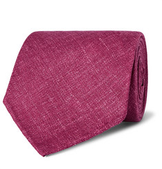 Drake's 8cm Herringbone Wool, Silk and Linen-Blend Tie
