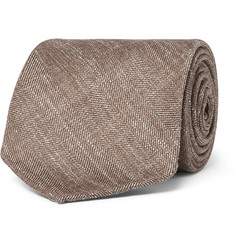 Drake's - 8cm Herringbone Wool, Silk and Linen-Blend Tie