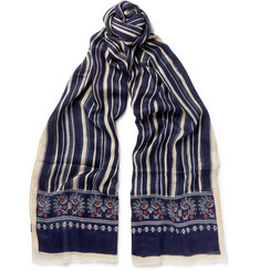 Drake's Printed Silk and Modal-Blend Scarf
