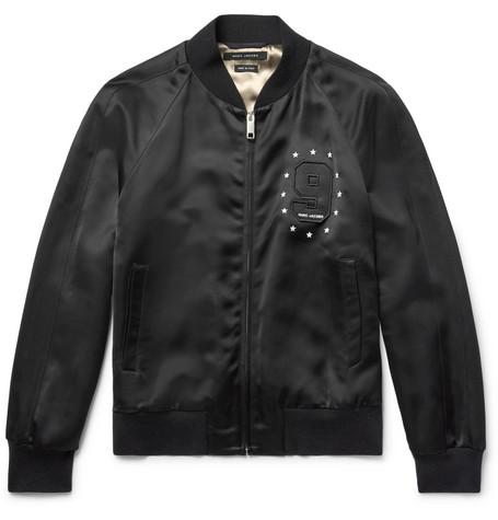 marc jacobs male marc jacobs embellished satin bomber jacket black