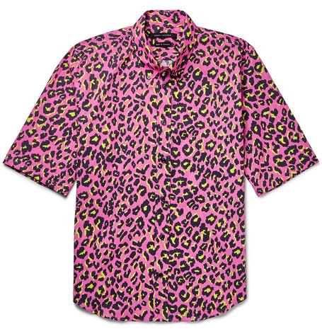marc jacobs male marc jacobs lenny slimfit buttondown collar leopardprint cotton shirt pink