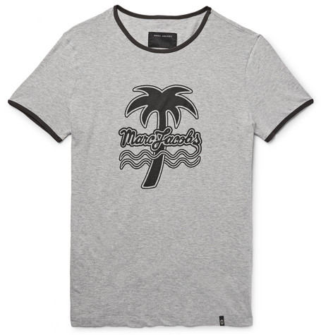 marc jacobs male marc jacobs slimfit printed melange cottonjersey tshirt gray