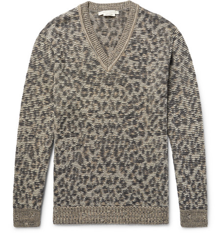 marc jacobs male marc jacobs lenny leopard jacquardknit linen wool and cashmereblend sweater leopard print
