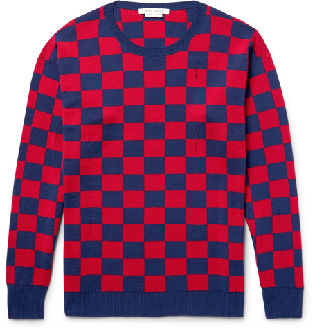 marc jacobs male marc jacobs distressed checkerboard wool sweater blue