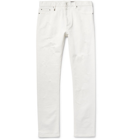 marc jacobs male marc jacobs slimfit distressed stretchdenim jeans white