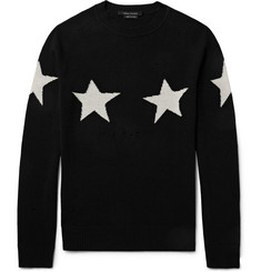 Marc Jacobs Slim-Fit Distressed Star-Intarsia Wool and Cashmere-Blend Sweater