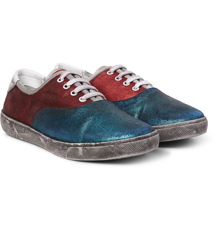 marc jacobs male marc jacobs distressed metallic suede sneakers petrol