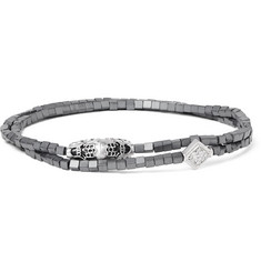 Luis Morais White Gold, Hematite and Crystal Wrap Bracelet