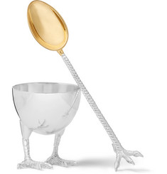 Asprey - Sterling Silver Egg Cup and Spoon Set