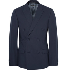 Calvin Klein Collection - Blue Neville Slim-Fit Double-Breasted Bonded Cotton Blazer