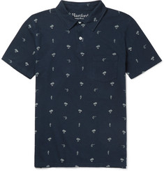 Hartford Printed Cotton and Linen-Blend Jersey Polo Shirt