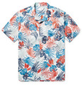 Hartford - Slim-Fit Camp-Collar Printed Cotton-Voile Shirt
