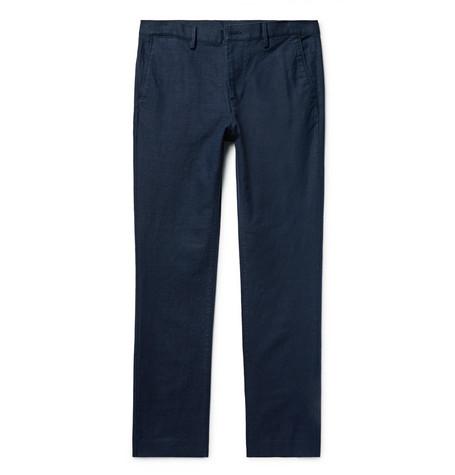 michael kors male michael kors slimfit linen and cottonblend trousers midnight blue