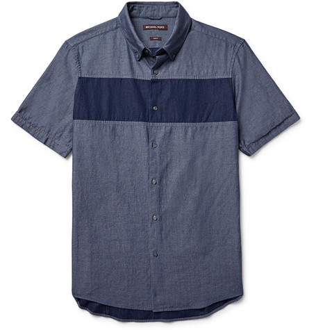 michael kors male michael kors slimfit buttondown collar panelled chambray shirt mid denim