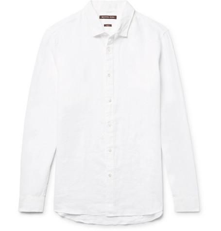 michael kors male michael kors linen shirt white