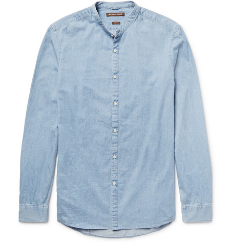 michael kors male michael kors slimfit grandadcollar denim shirt light denim