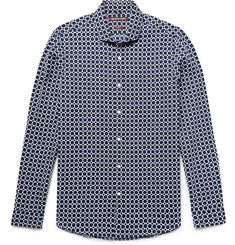 Michael Kors Slim-Fit Printed Linen and Cotton-Blend Shirt