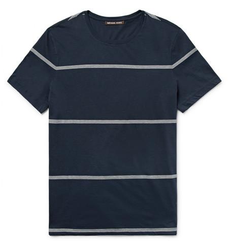 michael kors male michael kors slimfit striped pima cotton tshirt navy