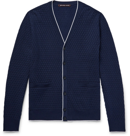 michael kors male michael kors contrasttipped basketweave knitted cardigan navy