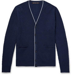 Michael Kors Contrast-Tipped Basketweave Knitted Cardigan