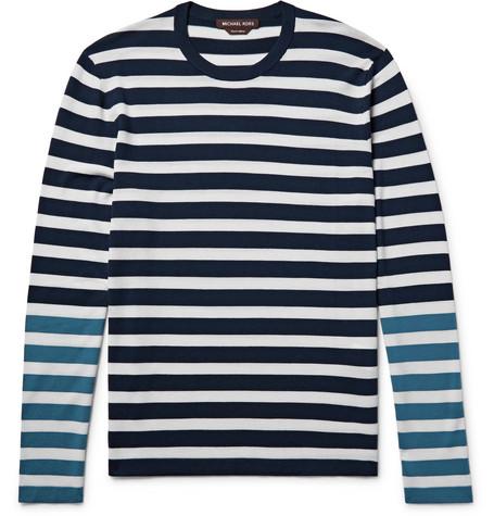 michael kors male michael kors colourblock striped merino wool tshirt midnight blue