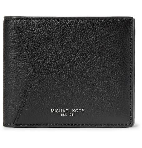 michael kors male michael kors fullgrain leather billfold wallet black