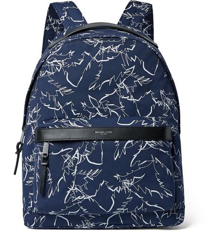 michael kors male michael kors leathertrimmed printed cordura backpack storm blue