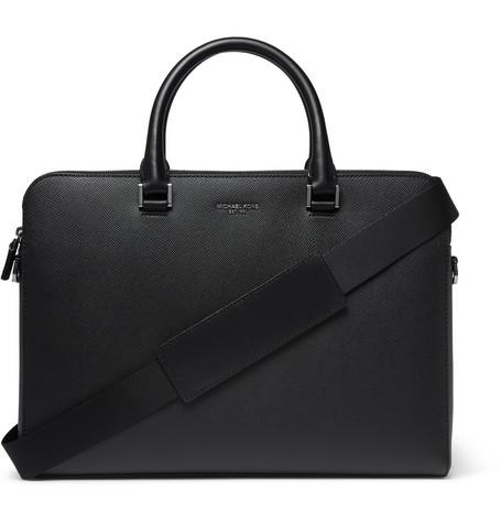 michael kors male michael kors harrison crossgrain leather briefcase black