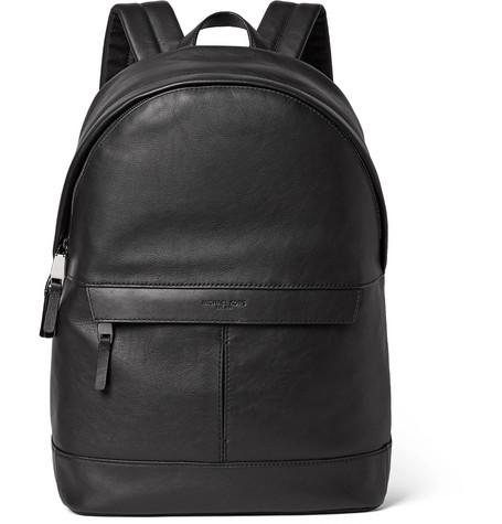 michael kors male michael kors fullgrain leather backpack black
