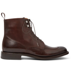O'Keeffe Algy Split-Toe Polished-Leather Boots