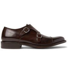 O'Keeffe Cap-Toe Polished-Leather Monk-Strap Shoes
