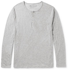 Hartford Slim-Fit Mélange Cotton-Jersey Henley T-Shirt