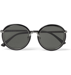 Dries Van Noten + Linda Farrow Round-Frame Gunmetal-Tone and Acetate Sunglasses