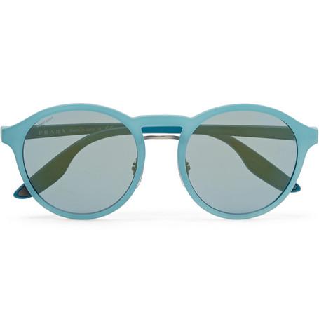 dc789e7a9034 Prada Round-Frame Rubberised-Acetate Sunglasses | ModeSens