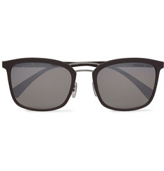 Prada Square-Frame Rubberised-Acetate Mirrored Sunglasses