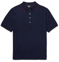 PS by Paul Smith Contrast-Tipped Knitted Merino Wool Polo Shirt