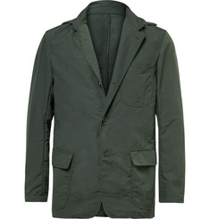 Battenwear Green Slim-Fit Shell Blazer with Detachable Hood