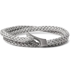 Miansai Ipsum Woven Rope and Rhodium-Plated Wrap Bracelet
