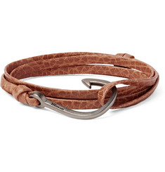 Miansai Grained-Leather And Silver-Plated Hook Wrap Bracelet