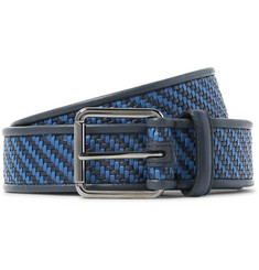 Ermenegildo Zegna - 3.5cm Blue Pelle Tessuta Leather Belt