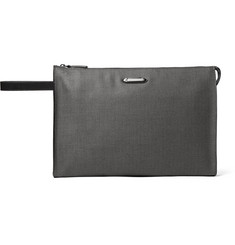 Ermenegildo Zegna Leather-Trimmed Herringbone Coated-Canvas Pouch