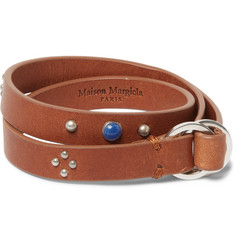 Maison Margiela Embellished Leather Silver Wrap Bracelet