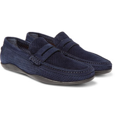 Harrys of London - Basel 4 Perforated Suede Penny Loafers