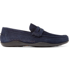 Harrys of London Basel 4 Perforated Suede Penny Loafers