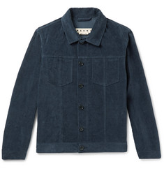 Marni Slim-Fit Washed Cotton and Linen-Blend Velvet Jacket
