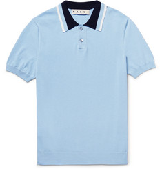 Marni Contrast-Trimmed Knitted Cotton Polo Shirt