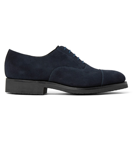 J.M. WESTON 300 Suede Oxford Shoes in Blue
