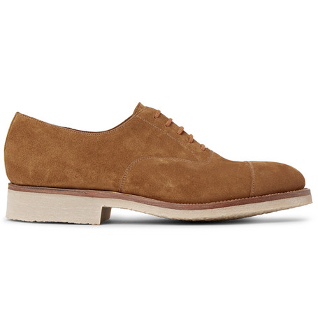 J.m. Weston 300 Suede Oxford Shoes In Brown