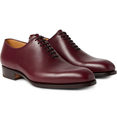 404 Claridge Whole-cut Leather Oxford Shoes - Burgundy